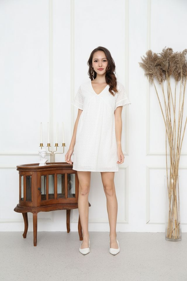 Aerin Babydoll Eyelet Dress in White