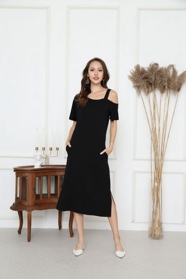 Aliza One-Shoulder Midi Dress in Black