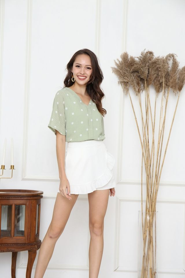 Sabrina V-Neck Polka Dot Top in Sage