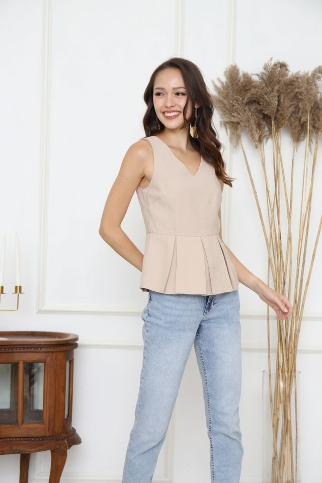 Catalina Pleats Peplum Top in Sand