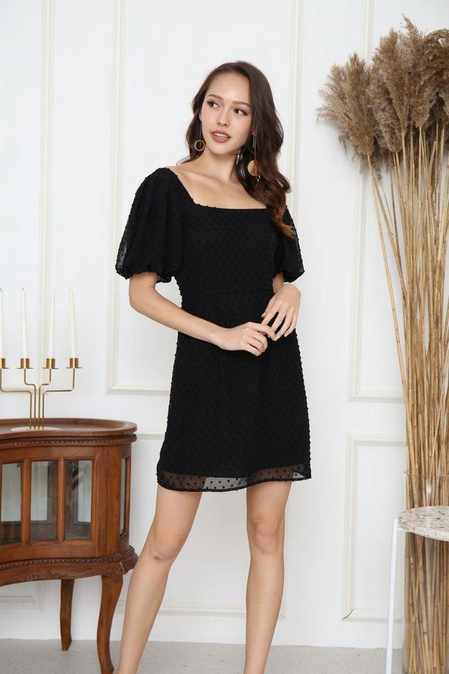 *BACKORDER* Tasha Swiss Dots Puff Sleeve Dress in Black