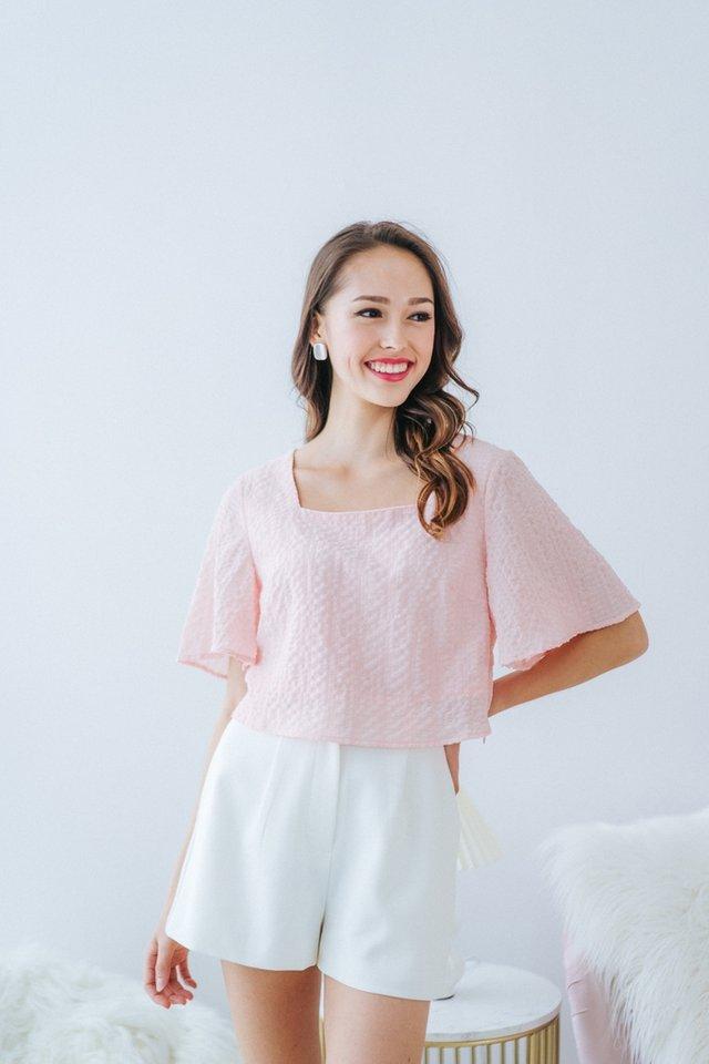 Lara Textured Square-Neck Top in Blush