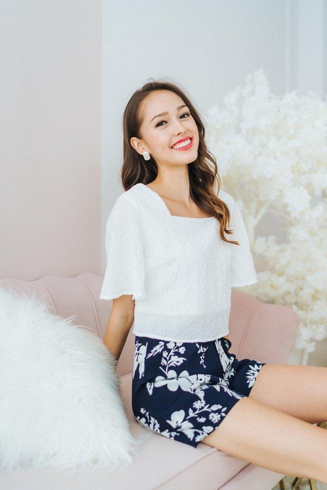 Lara Textured Square-Neck Top in White