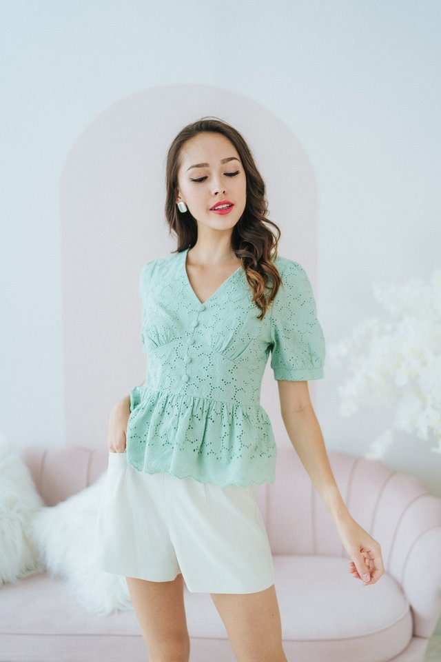 *BACKORDER* Vera Eyelet Babydoll Top in Apple Green