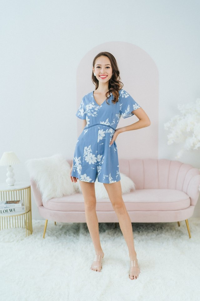 *BACKORDER* Lauren Floral Eyelet Trim Romper in Powder Blue