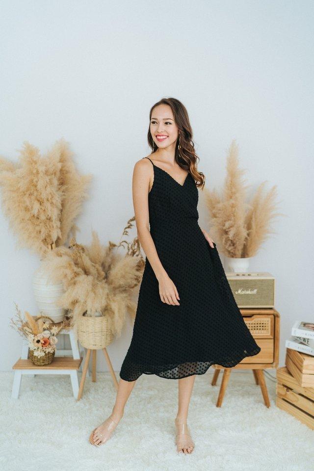 Donna Textured Swiss Dot Midi Dress in Black