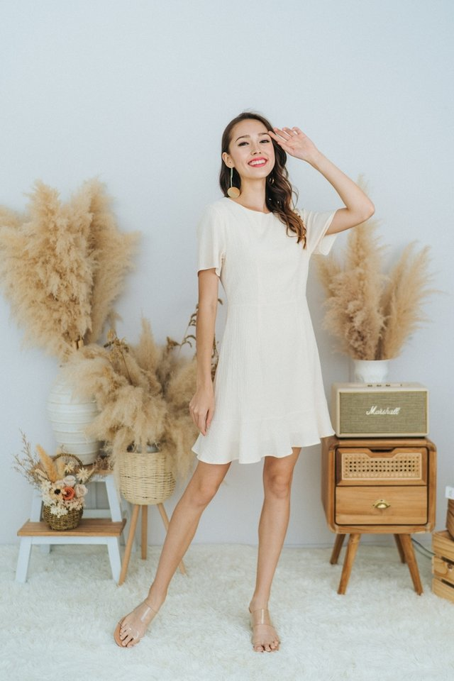 Nova Textured Dropwaist Dress in Cream