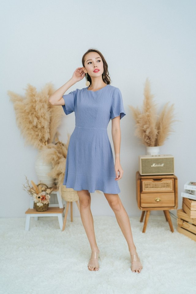 Nova Textured Dropwaist Dress in Blue