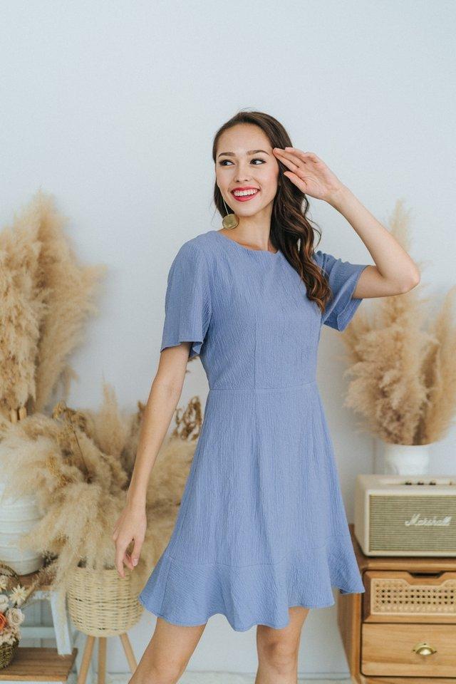 Nova Textured Dropwaist Dress in Blue