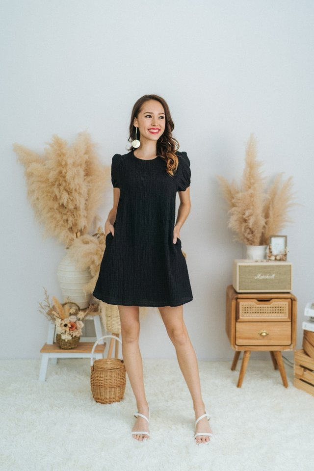 Racheal Textured Puffed Sleeves Dress in Black