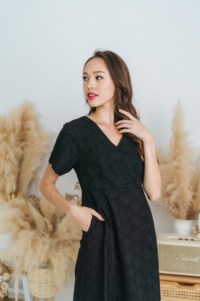 Ella Eyelet Dropwaist Midi Dress in Black