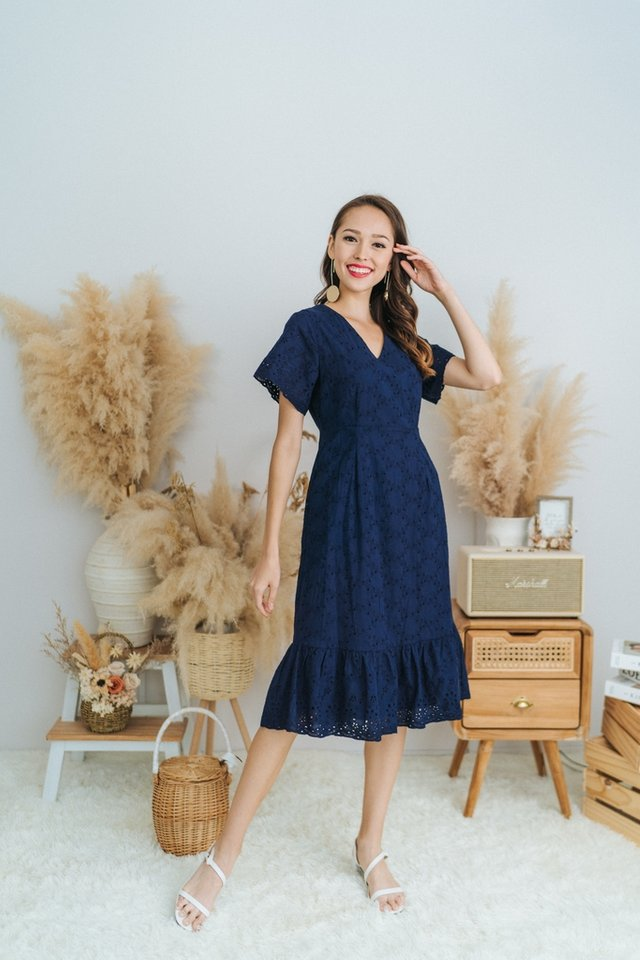 Ella Eyelet Dropwaist Midi Dress in Navy