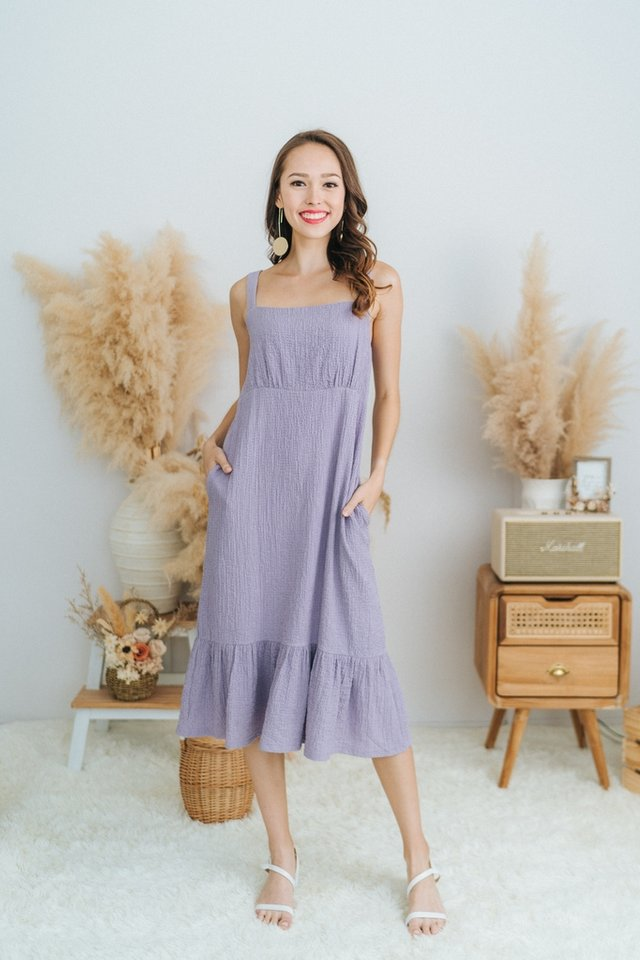 Jael Textured Dropwaist Midi Dress in Lilac
