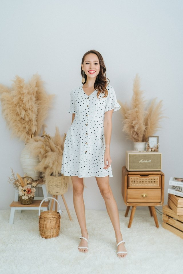 Allana Heartshaped Button Dress in White