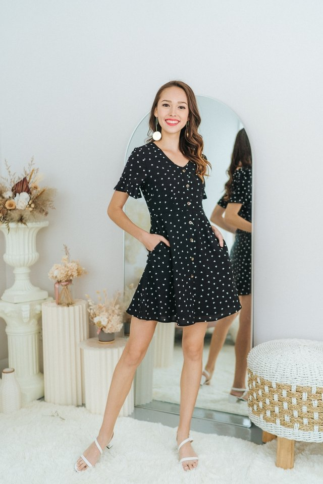 Allana Heartshaped Button Dress in Black