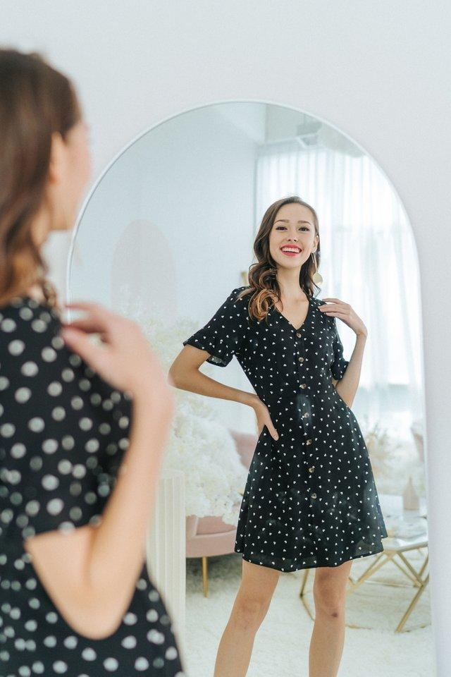 Allana Heartshaped Button Dress in Black