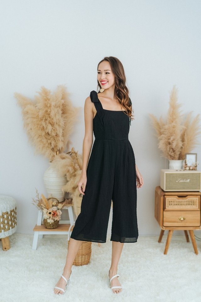 Pam Textured Ribbon Jumpsuit in Black