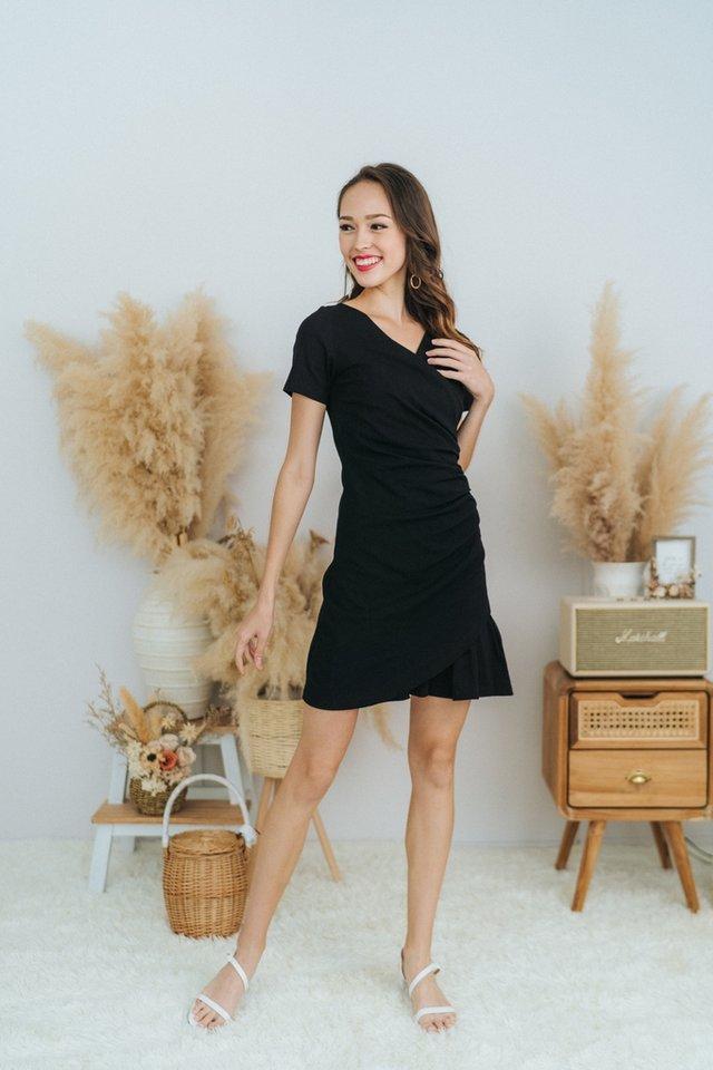 Maisie Wrap Button Dress in Black