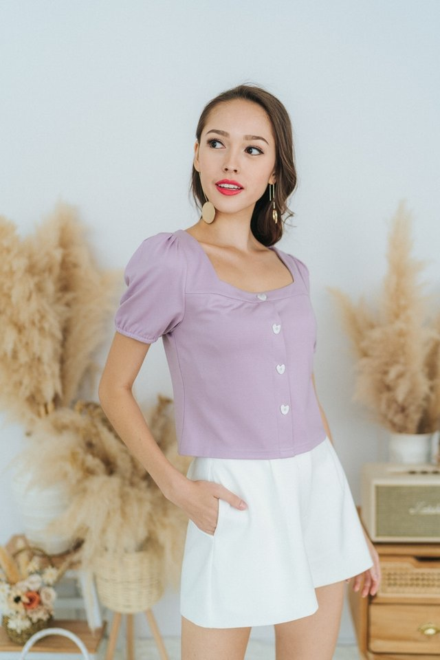 Josie Puffed Sleeves Button Top in Lilac