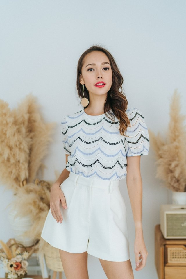 *BACKORDER* Leia Eyelet Scallop Puffed Sleeves Top in White