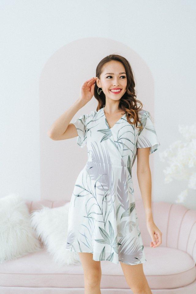 Raelynn Leaves Faux Wrap Dress in White
