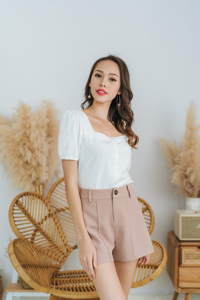 Josie Puffed Sleeves Button Top in White
