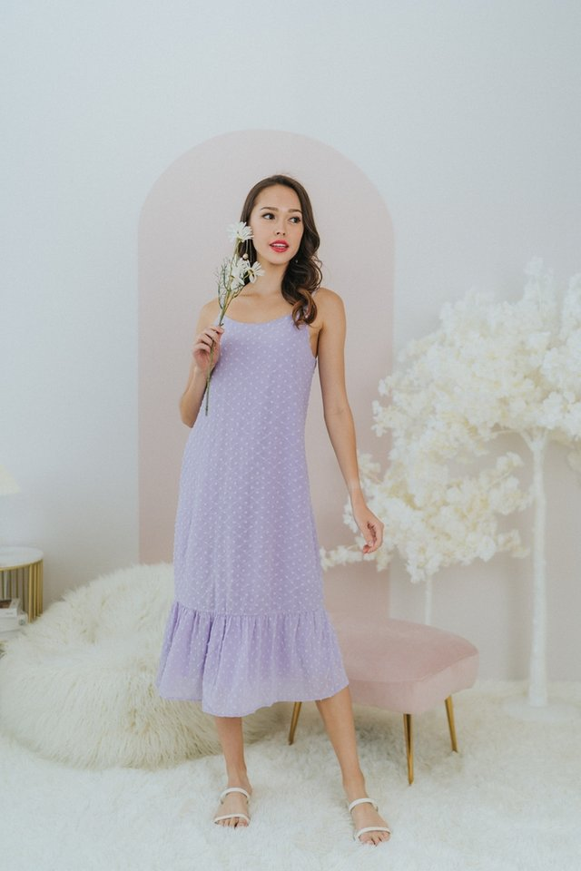 Vada Textured Swiss Dot Midi Dress in Lilac