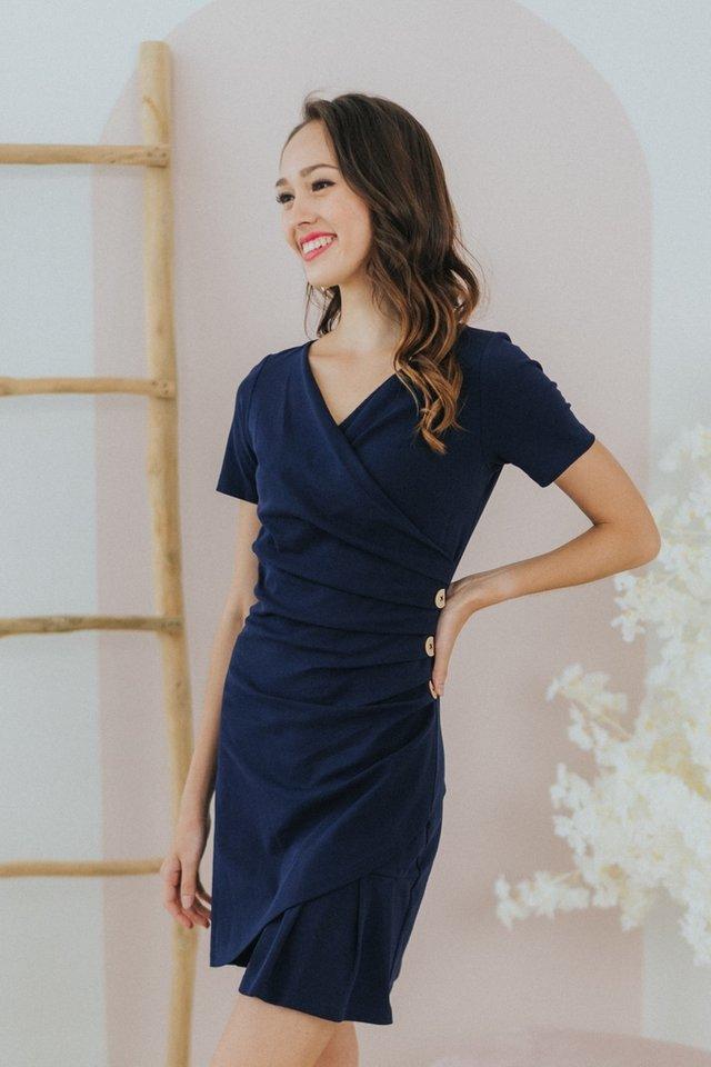 Maisie Wrap Button Dress in Navy