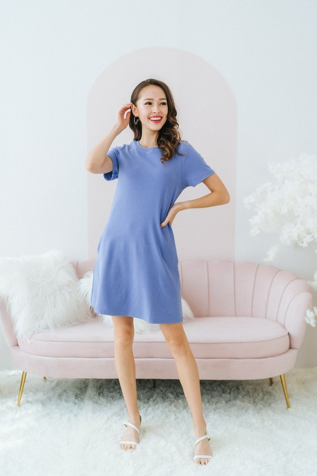 Ashley Ribbed A-line Dress in Blue