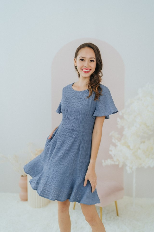 Ema Textured Dropwaist Ruffles Dress in Blue