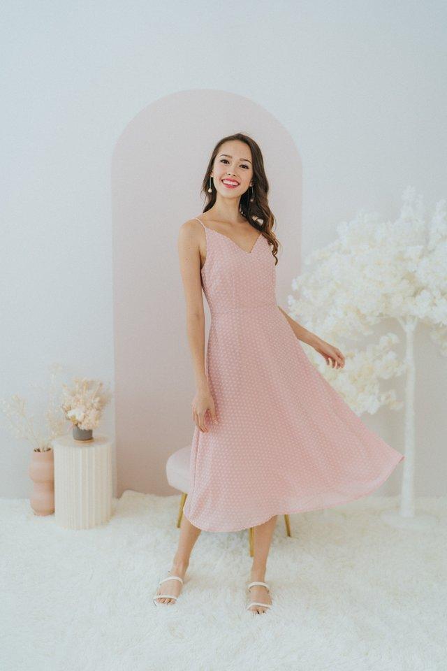 Donna Textured Swiss Dot Midi Dress in Pink