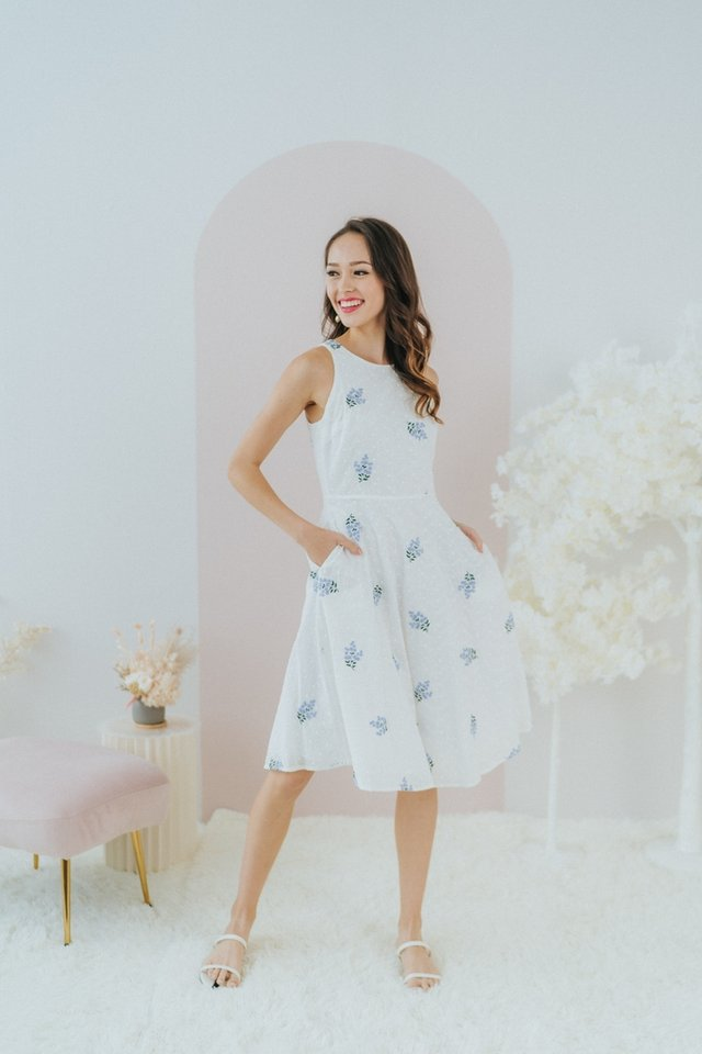 *BACKORDER* Clara Periwinkle Embroidery Midi Dress in White