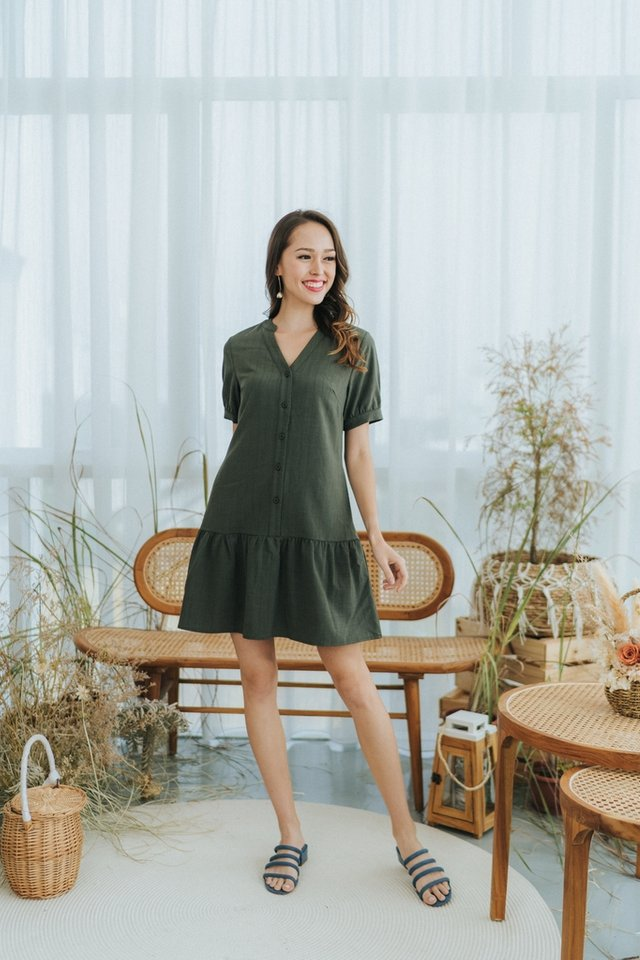 Nayla Mandarin Collar Button Dress in Olive