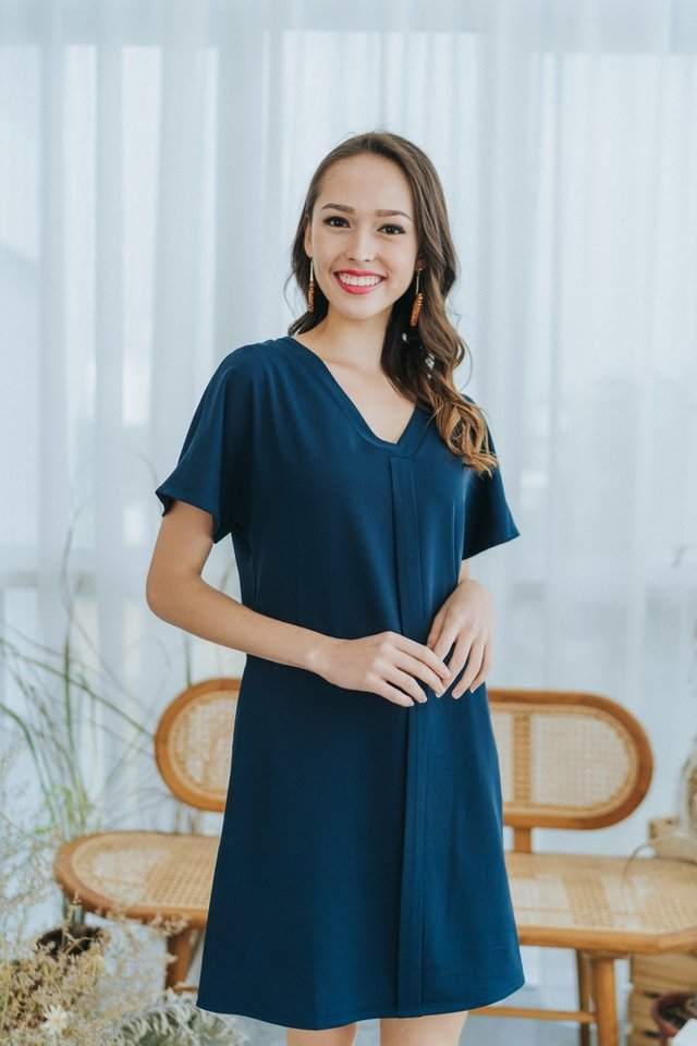 Kirsten Panel Shift Dress in Teal