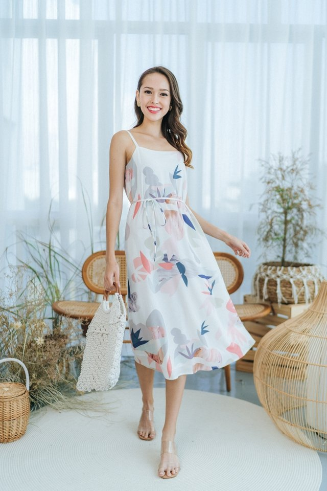 Savina Abstract Floral Midi Dress in White
