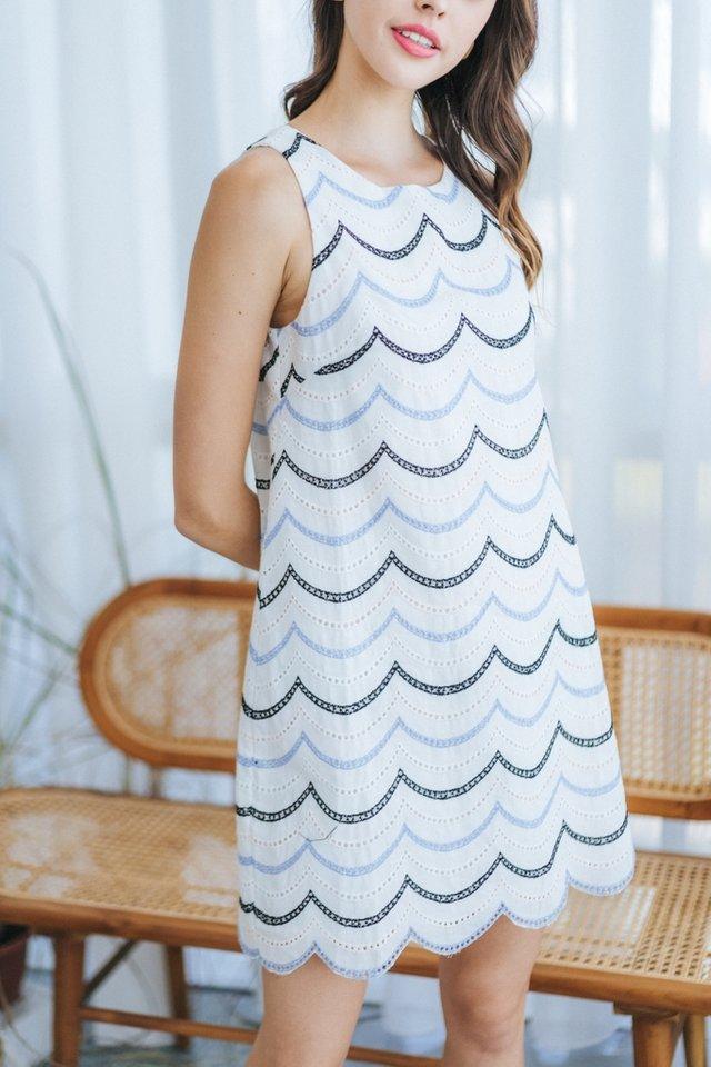 Anisha Scallop Eyelet Dress in White