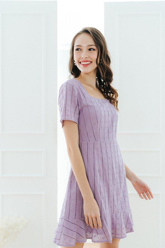 Krystal Square Neck Dropwaist Dress in Lilac