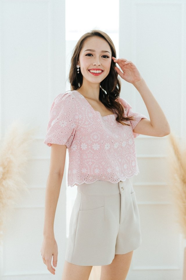 Janella Eyelet Puffed Sleeves Top in Pink