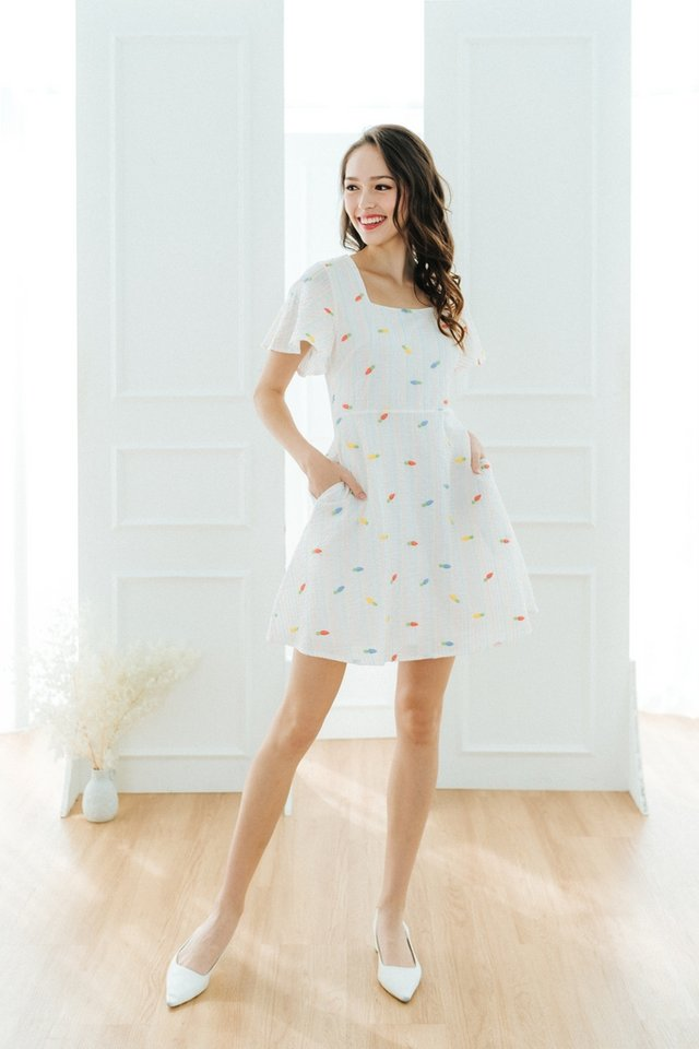 Kaley Carrot Embroidery Square Neck Dress in White
