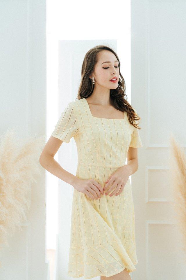 Krystal Square Neck Dropwaist Dress in Daffodil Yellow