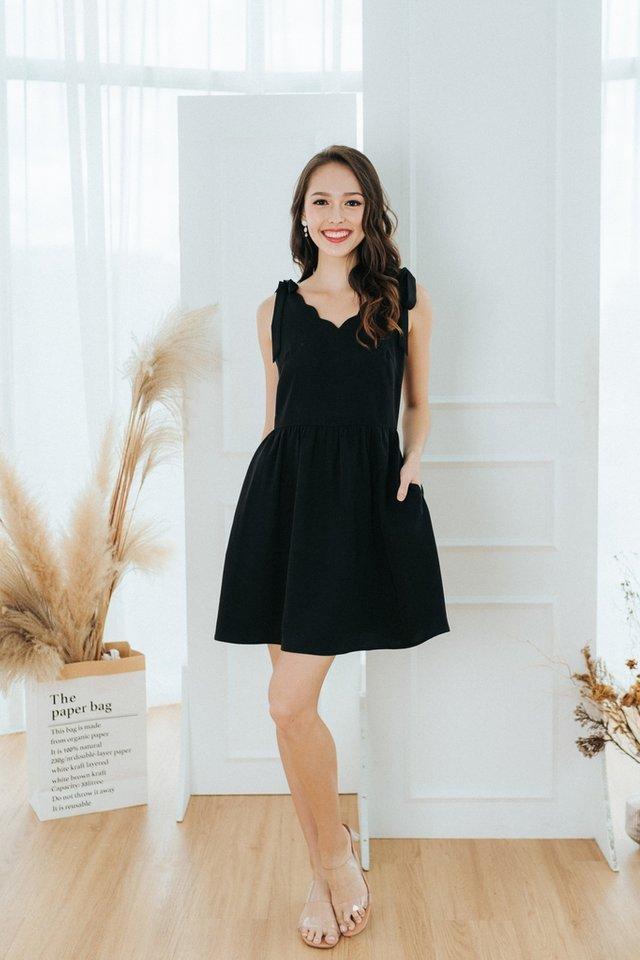 Aria Scallop Ribbon Dress in Black