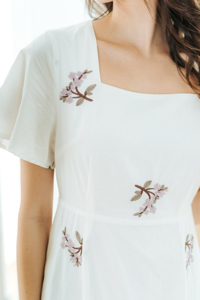 Shay Floral Embroidery Dropwaist Midi Dress in White