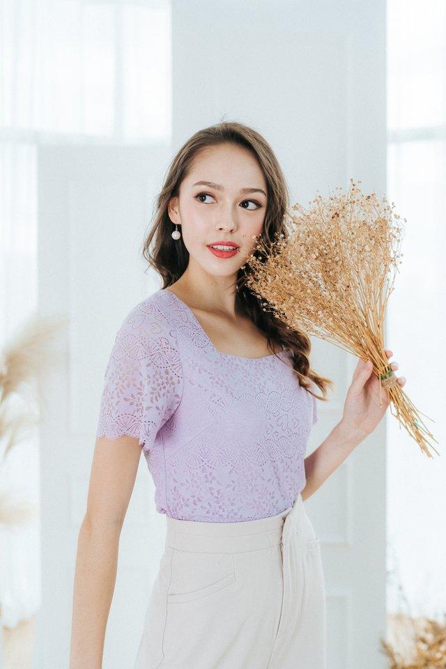 Jocelyn Lace Cropped Top in Lilac