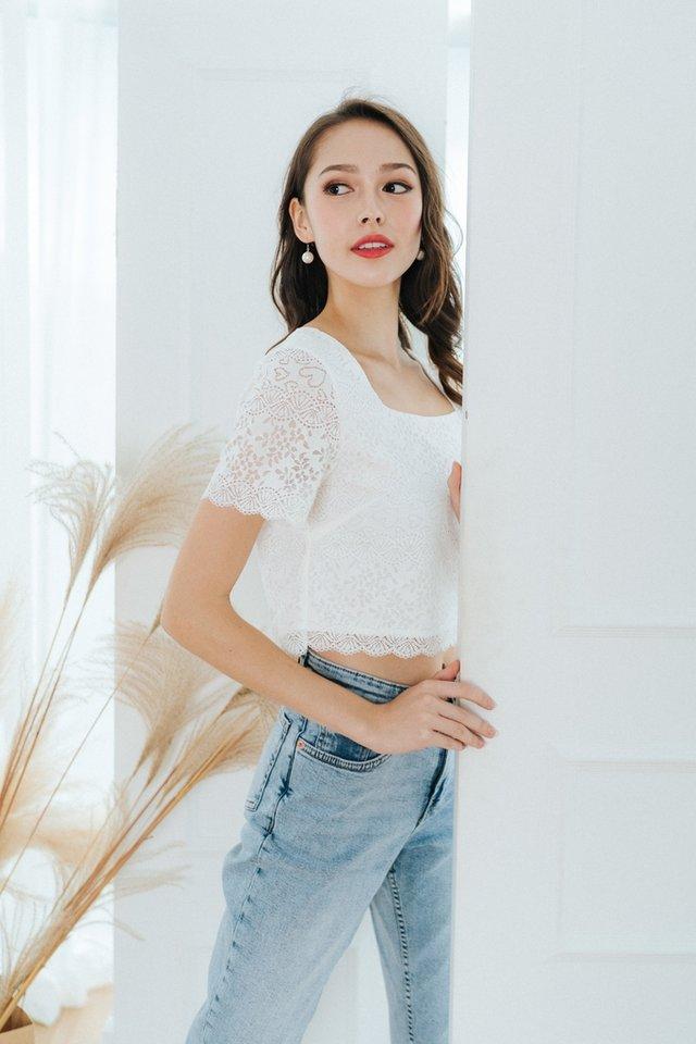 Jocelyn Lace Cropped Top in White