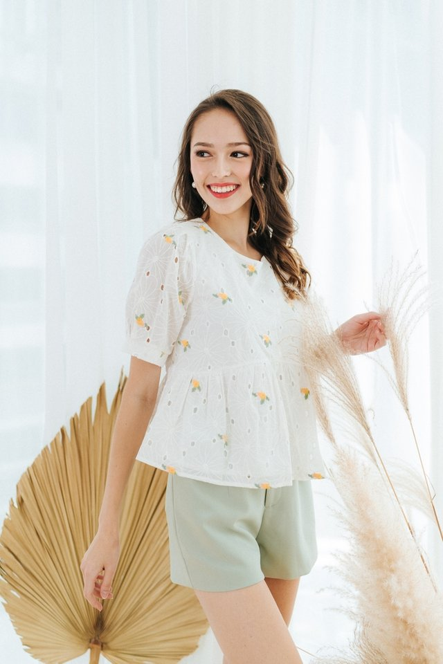 Sherry Floral Embroidery Babydoll Top in Yellow