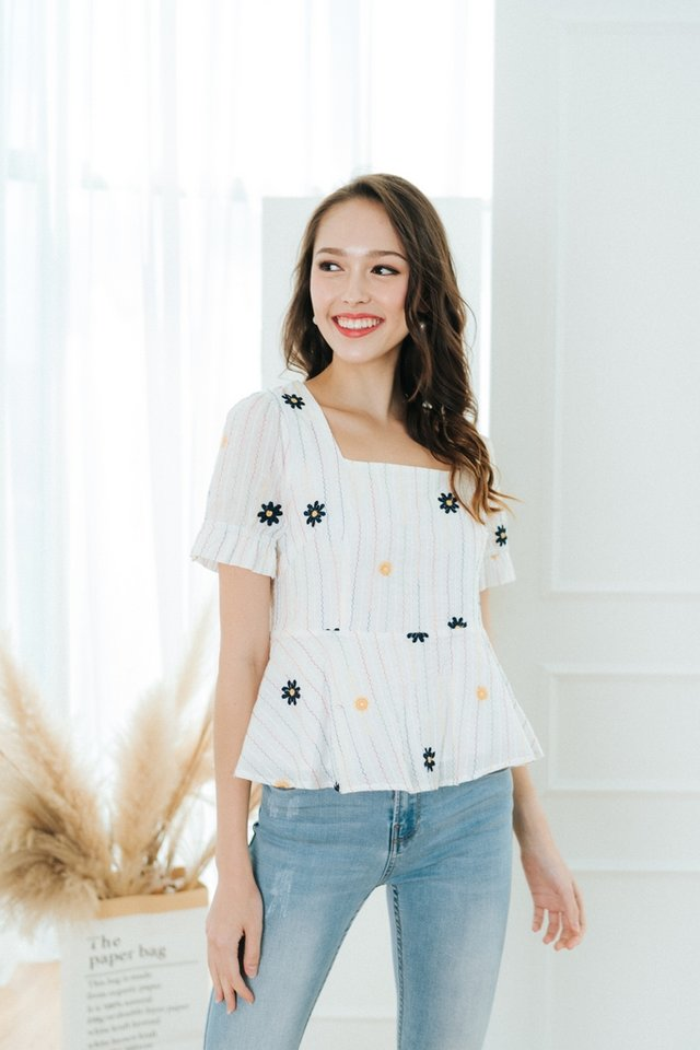 Vedda Floral Embroidery Peplum Top in White
