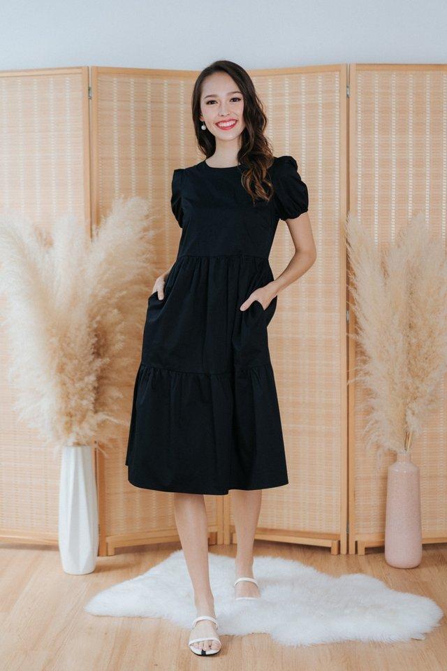 *BACKORDER* Vita Babydoll Midi Dress in Black