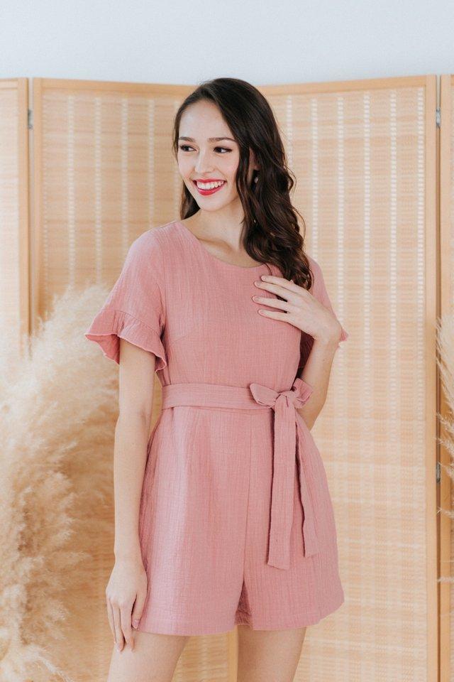 Madelia Textured Flutter Sleeves Romper in Pink