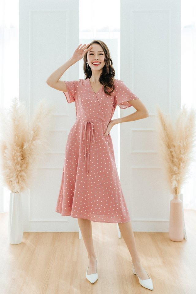 *BACKORDER* Jayne Heart-Shaped Faux Wrap Midi Dress in Pink