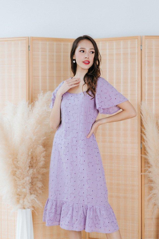 Adair Eyelet Dropwaist Midi Dress in Lilac